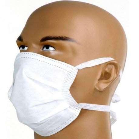 Máscara Cirúrgica Descartável Tripla C/Tiras ( Amarrar) C/50unid