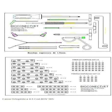 Caixa Ortopédica Basica Placas e parafusos tamanho 3,5mm