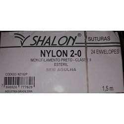 Fio de Sutura Nylon Agulhado Preto 2.0 S/Agulha 1,5m